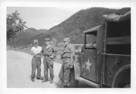 Chuck Mazzone, Lt Donato, Sgt Lingle, trip to 46th MASH, July '53