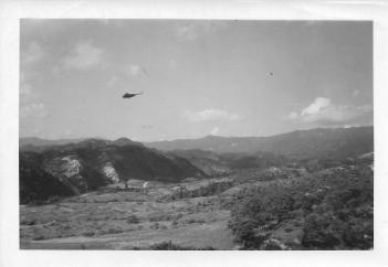 Punchbowl, Heartbreak Ridge on left, 46th MASH, Korea, July '53
