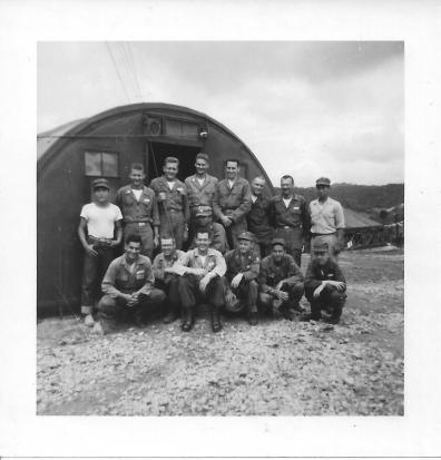 Surgical Research Team 46th MASH July 1953 back ron: Pak, Lt. Frawley, Lt. Stahl, Capt. Prentice, Lt. Donato, Sgt. Lingle, PFC Norm Dial, Han, front row: PFC Frank Ponterio, Cpl. Ed Hess, Sgt. Henry, Capt. Sako, Major Artz, Cpl Evans, PFC Beggins