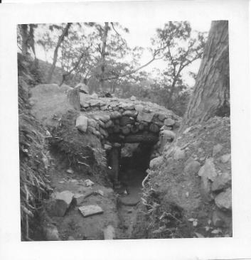 Bunker over a part of the trench, Christmas Hill, Korea, July, 1953
