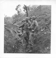 Sgt Harrison, Sgt Lingle in trench, Christmas Hill, Korea, July 1953