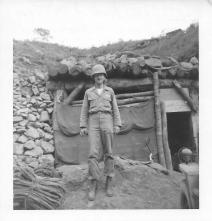 Norm Dial at Battalion Aid Station, Christmas Hill, Korea, July, 1953