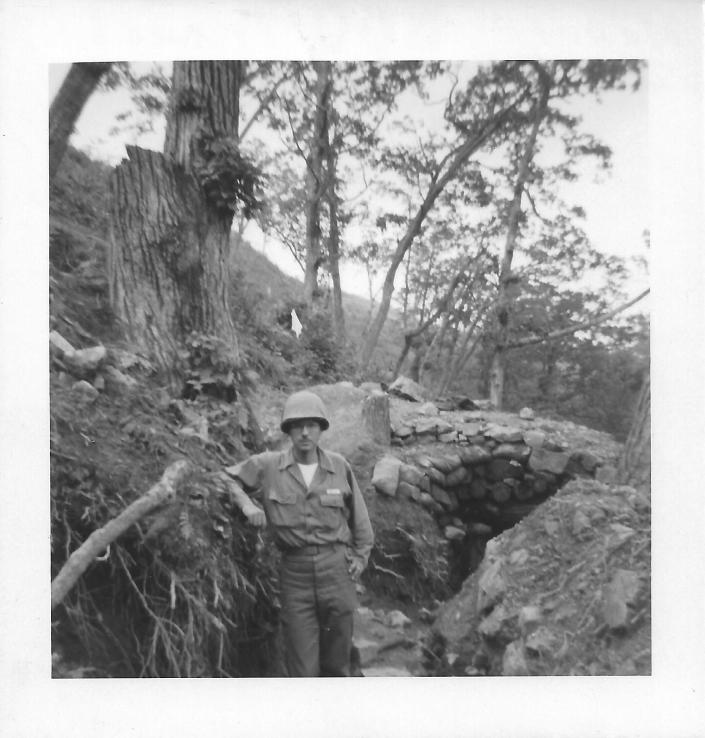 Norm Dial in trench at Christmas Hill, Korea, July 1953