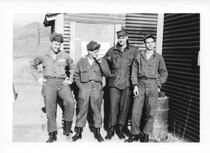 Don Blogget, ? , Don Feeney, C. Burns, 48th MASH, Korea, January 1954