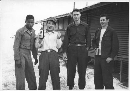 Outside lab, Nichols, Kim, Don, Ron Herman, 48th MASH, Feb 2, 1954
