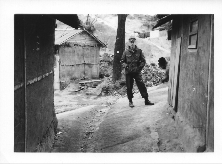Don Feeney, on the outskirts of Seoul, Korea, 1954
