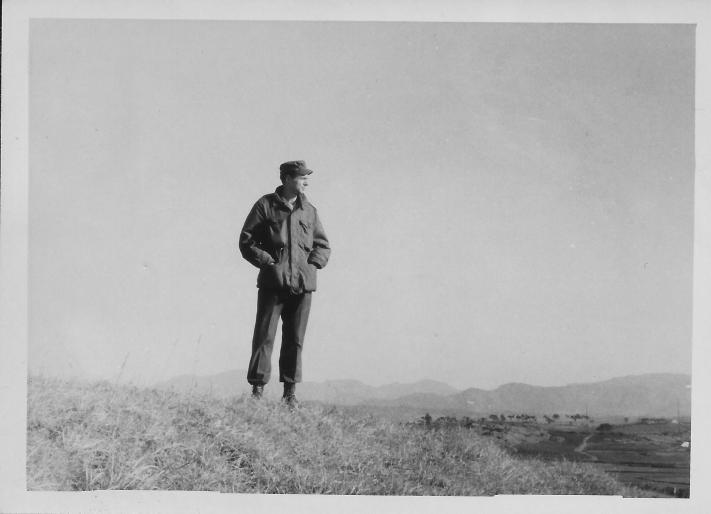 Don Feeney and Korean Countryside, January, 1954