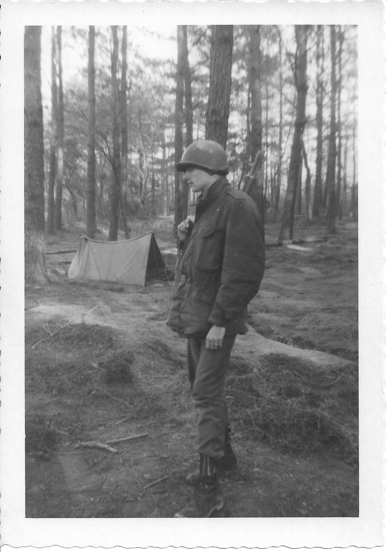 26 MASH Don Feeney, bivouac, after 24 hr guard duty ammo dump,Ft Eustis, VA, January, 1953