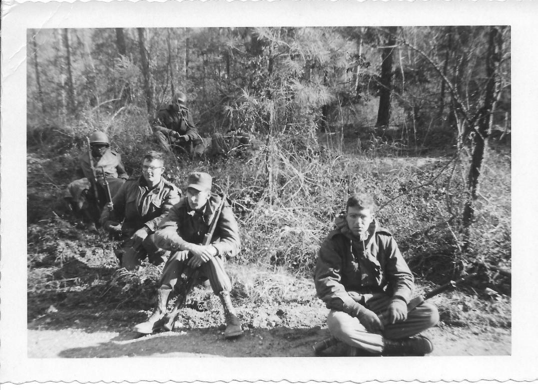 28 MASH Marc, Andy Luftig, Bernie Fischer, bivouac, Ft Eustis, VA January, 1953