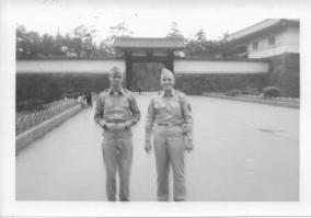Don Feeney and Al Lingle at entrance to Imperial Palace, Japan, June 1953