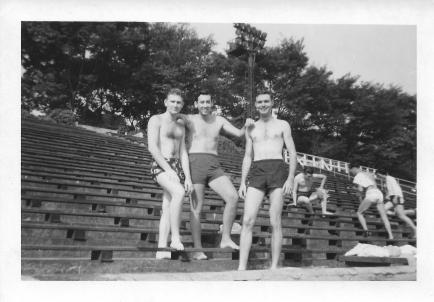 Lenny Aconsky, Marv Mackoff, Don Feeney, Meiji Pool, Tokyo, August, 1953
