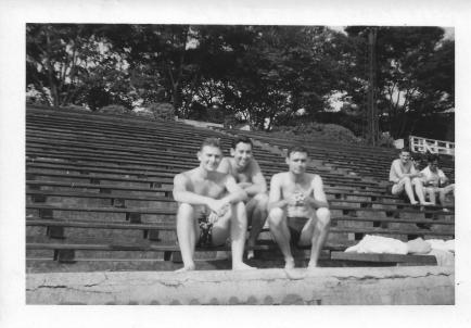 Lenny Aconsky, Marv Mackoff, Don Feeney, Meiji Pool, Tokyo, August 1953