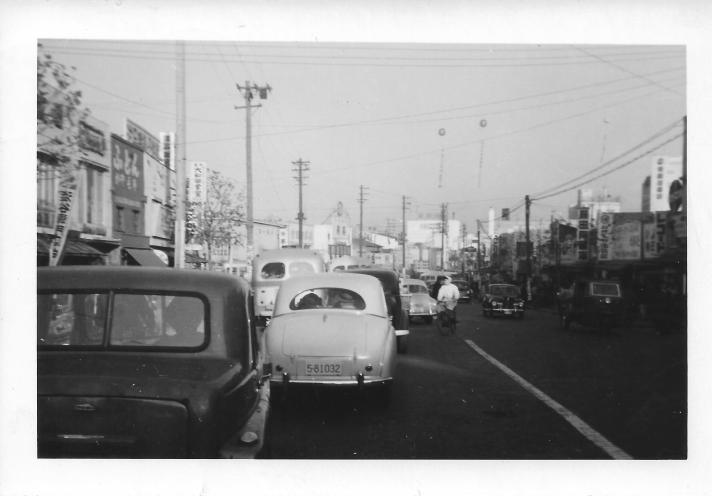Shibuya street scene, Japan, 1953